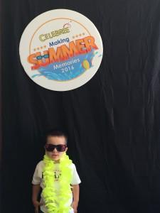 A toddler at summer camp