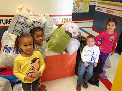 Celebree children with clothing donations