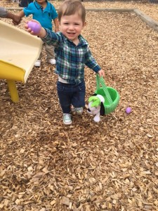 A toddler doing outdoor activity