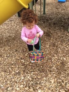 a toddler explores nature