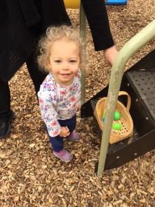a toddler doing fun outdoor activity