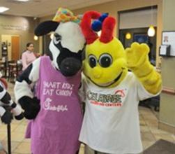 Mascots celebrate Celebree Cockeysville's birthday at Chik-fil-A