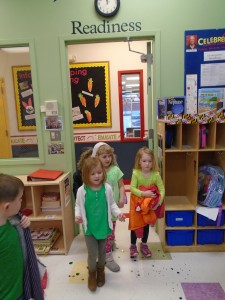 Toddlers doing in-class group activities