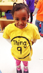 "Student modeling a Dr. Seuss ""Thing"" t-shirt"