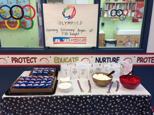Olympic party treats table