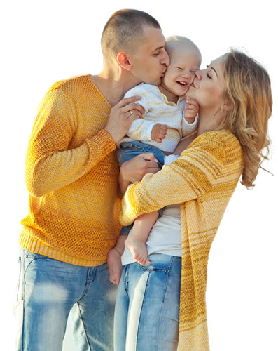 happy caring couple with child