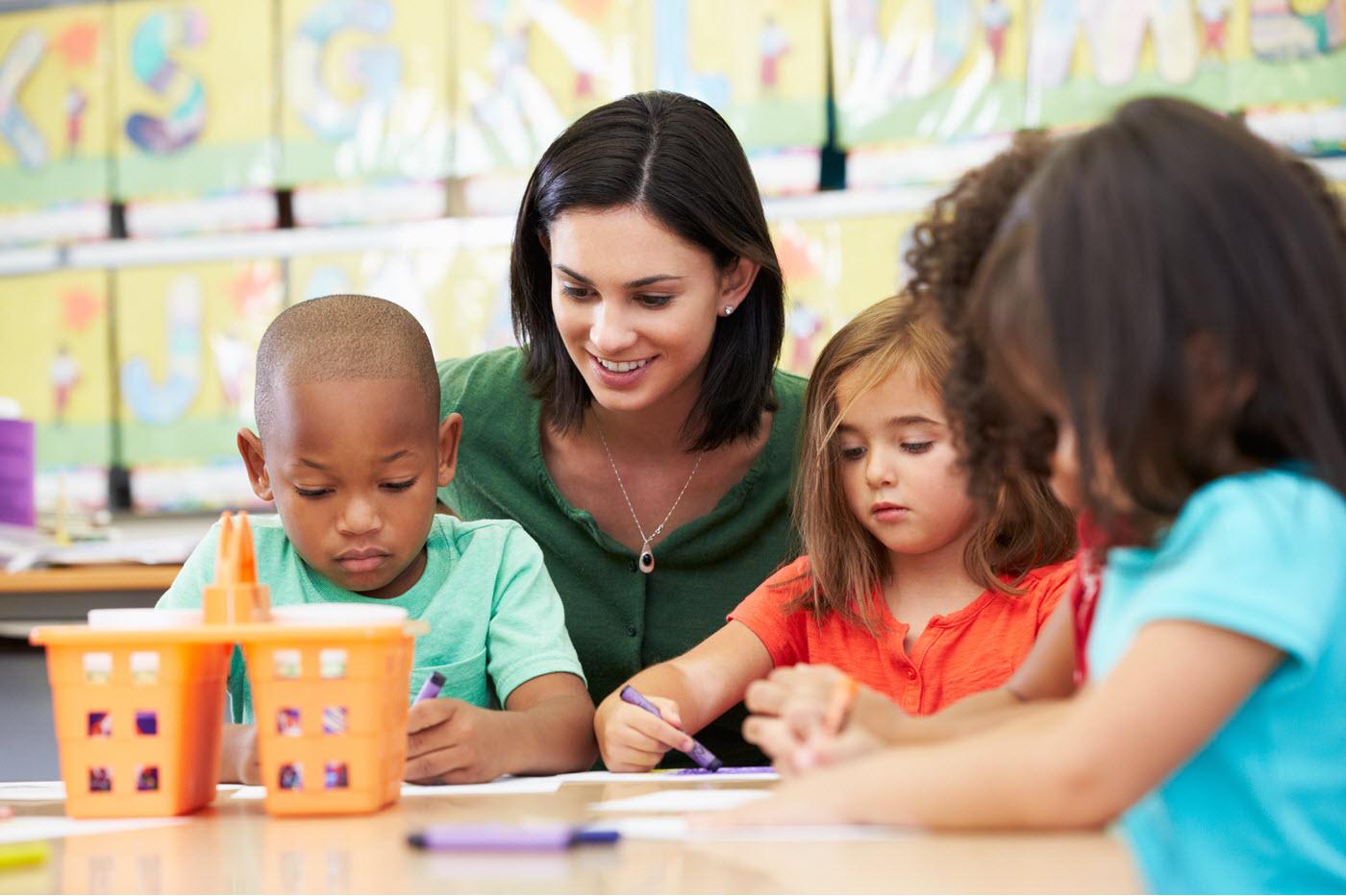 celebree teacher with children