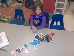 a girl having fun in class