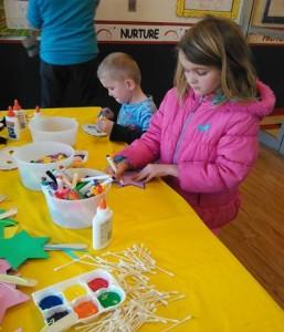 Children participating in coloring activities